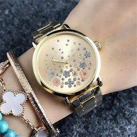 uhr kleid voller diamant großhandel-Mode M Design Frauen Mädchen Blumen Stil Frauen Quarzuhren Gold Armbanduhr Damen Kleid Strass Blume voller Diamanten Uhr 66