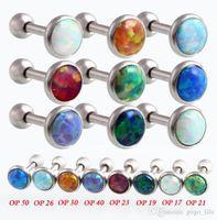 Wholesale body jewelry titanium lip piercing for sale - Group buy 10PCS Luxury Natural Opal Ear Bone Nail G Nose Piercing Ombligo x6x3 mm Opal Lip Piercing Nombril Body Jewelry