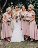 Wholesale sexy short high low bridesmaid dress online - 2019 New Sexy Blush Pink A Line Bridesmaid Dresses Off Shoulder Satin High Low Ankle Length African Wedding Guest Maid of Honor Gowns