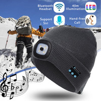 Wholesale led lighted hats for sale - Group buy Designer LED Beanies With Bluetooth Warm Hats Bluetooth LED Hat Wireless Smart Cap Headset Headphone Speaker led hat light