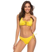 micro biquini amarelo venda por atacado-Amarelo Sexy Lace Up Biquínis Empurrar Para Cima Maiô Mulheres Macio Almofada Micro Biquíni Corda Swimwear Feminino Praia Maiô 2019 Brasileira Biquini