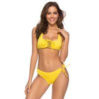 gelber mikrobikini großhandel-Gelb Sexy Lace Up Bikinis Push Up Badeanzug Frauen Soft Pad Micro Bikini String Bademode Weiblichen Strand Badeanzug 2019 Brasilianischen Biquini