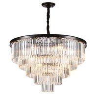Wholesale led pendant lights stainless steel resale online - American Luster Crystal Chandeliers Led Pendant Metal Room Lights Led Lighting Chandelier Dining Room Hanging Fixtures Clear crysta