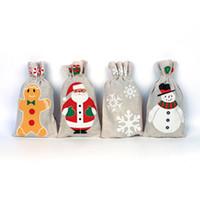boneco de neve de moda jóias venda por atacado-Sacos de presente de natal Saco de Cordão 13 * 23 cm Moda Vintage Bonito Sacos de Jóias Literárias 4 Syles Papai Noel Snowflake Snowman Xmas