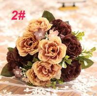 high end künstliche blumen großhandel-Dekoration Ornamente gefälschte Blumen Hochzeit künstliche Blumen 10 europäische Pfingstrosen Rosen High-End-Hersteller Großhandel Simulation Blumen