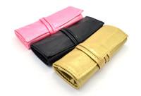 escovas de couro de ouro venda por atacado-Meinaiqi PU de Couro Escovas De Maquiagem Saco Rosa / Preto / Ouro Saco De Armazenamento De Cosméticos 7 Pincéis de Posição Nova Chegada