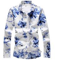 ingrosso t-shirt bianche lunghe da uomo-mens designer camicie 2019 lusso primavera estate moda uomo abiti blu e bianco porcellana stampa maglietta manica lunga camicia casual