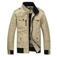 abrigo de color caqui al por mayor-Zogaa Casual chaqueta de los hombres de la chaqueta del ejército de los hombres abrigos de invierno para hombre prendas de vestir exteriores otoño abrigo de color caqui estándar collar Streetwear