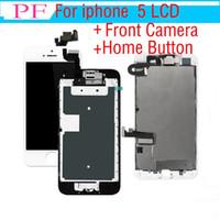 botón de inicio para el iphone 5g al por mayor-1 Pieza Grado A +++ Pantalla táctil LCD para iPhone 5 5G 5C Ensamblaje Digitalizador de pantalla de reemplazo con botón de inicio + cámara frontal