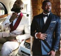 ingrosso smoking argento degli uomini-Abito da sposa nuovo design 2020 per abito da uomo nero Blazer smoking due pezzi (giacca + pantaloni) Smoking da sposo di grandi dimensioni Custom Made AL2398