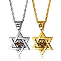 hip pop jóias venda por atacado-pingente colares para homens titânio aço inoxidável colares de slides ouro Artificial cristal lasca hip-pop hexamanga mens jóias para presentes