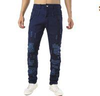 jeans escuro destruído venda por atacado-Mens azul escuro skinny rasgado jeans Men Afligido Buraco Estiramento Jeans Jeans Personalidade design Lavado Destruído