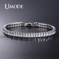 Wholesale umode bracelets for sale - Group buy UMODE Luxury Cubic Zirconia Tennis Bracelets Chain Crystal Wedding Bracelet For Women Men Silver Bracelet Jewelry UB0181A