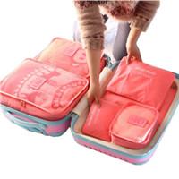 ingrosso borse da imballaggio per vestiti-6 Pz / set Borsa da viaggio Set per vestiti Tidy Organizer Guardaroba Valigia Pouch Travel Organizer Bag Case Scarpe imballaggio Cube Bag