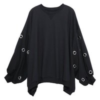 ropa de metal punk al por mayor-2 019 nuevas mujeres suéter negro Ropa de Harajuku de gran tamaño de los anillos de metal hueco de salida del punk Negro capucha de la mejor calidad