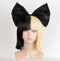 парики свободной перевозкы груза половинные оптовых-Wig Costume Party Sia cosplay Wigs Blunt Bangs Half Black Half Blonde Short Bob Wigs Free Shipping