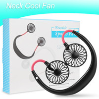 Wholesale fans resale online - Mini Cool Fan Portable USB Rechargeable Fan Neckband Lazy Neck Hanging Dual Cooling Mini Fan for Daily Life with Retail Box