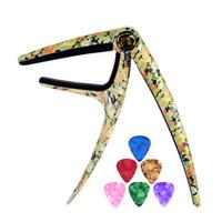 Wholesale pick guitars resale online - Personalized Trigger Style Capos Flower Grain Zinc Alloy Spring Capo With Guitar picks