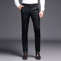 costume kaki noir pour hommes achat en gros de-2019 hommes pantalons de costume kaki pantalon de costume marque de mode pantalon noir d'affaires Droit travail droit pour les hommes couleur unie pantalon skinny