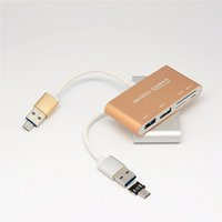 Wholesale tf micro sd for sale - Group buy New Hot USB OTG HUB SD TF Card Reader Aluminum Alloy High Speed Multifunction Converter