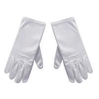 gants blancs garçons achat en gros de-Gants unisexes enfants blancs doux Satin courts gants élastiques pour les enfants fille garçon performance discours de danse