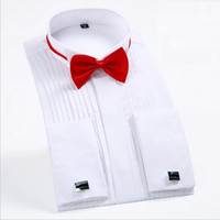 Wholesale red dress shirt bow tie resale online - bow ties Fashion White Tuxedo Shirts for Wedding Men Long Sleeve Casual Formal Shirt Men Slim Fit Wedding Male Tops