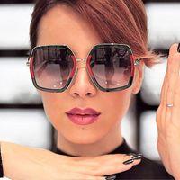 Wholesale hot trendy sunglasses for sale - Group buy Trendy Hot Shiny Sunglasses Women New Oversized Square G Red Green Brand Sun Glasses Designer Fashion Female Shades Oculos WfGRW
