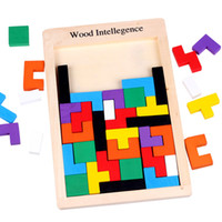 intellektuelle spielzeug großhandel-Holz Tangram Rätsel Puzzle Spielzeug Tetris Spiel Vorschule Magination Intellektuelle Pädagogisches Kind Spielzeug Geschenk parteibevorzugung FFA2078
