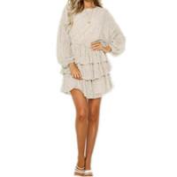 elbise partisi beyaz noktalar toptan satış-Puantiyeli Elbise Kadın Beyaz Backless Mini Parti Elbiseler Uzun Kollu Sonbahar Yaz Sundress Kadın Vestidos