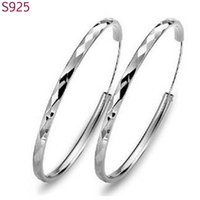 Wholesale sterling silver hoop earrings round resale online - cm Large Round Genuine Real Solid Sterling Silver Hoop Earrings For Women Fine Jewelry Fashion Wedding Party Bijoux