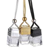 bouteille en verre de parfum d'ambiance de voiture achat en gros de-Cube creux bouteille de parfum Rearview de voiture Ornement Hanging Désodorisant pour diffuseur d'huiles essentielles parfum en verre pendentif bouteille vide