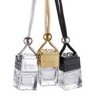 şişe boş toptan satış-Küp Araba Parfüm Şişesi Asılı Hollow Dikiz Süs Hava Spreyi Uçucu Yağlar Için Difüzör Parfüm Boş Cam Şişe Kolye