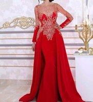 arabisches rotes kaftan kleid großhandel-Red Long Sleeve Mermaid Abendkleider Spitze Perlen Pailletten Arabisch Kaftan Abendkleider Nach Maß Abendkleid Robe De Soiree