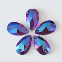 diamante púrpura suelto al por mayor-Forma de color morado oscuro del descenso del agua cristalinas del Rhinestone 2 agujeros Loose diamantes de imitación para coser prendas de vestir Accesorios de costura DIY Crafts Coser del diamante de lujo