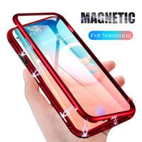 tapa trasera al por mayor-Estuche magnético de lujo con tapa magnética para Samsung Galaxy S10 Plus S10E S9 A50 M20 Funda magnética de parachoques de metal + tapa transparente de vidrio templado