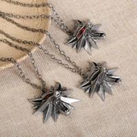 Wholesale witcher medallion resale online - the Witcher medallion wizard wolf wild hunt Figure Game pendnat necklace collar