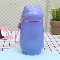 Wholesale student offices for sale - Stainless Steel Insulated Tumblers Student Penguin Fox Water Bottle Vacuum Lovely Tea Cup Children Office Enclosed Mention Strap byb1