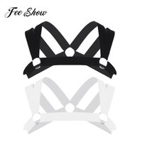 Wholesale double harness rings online - Mens Double Shoulder Straps Elastic Chest Muscle Harness Belt with Metal O rings Male Fancy Club Party Costume Strap Accessory