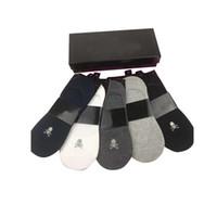 erkekler için iş çorapları toptan satış-Lüks 100% Pamuk Erkek Tasarımcı Çorap Moda Adam Anlke Spor Çorap Rahat Iş Yetişkin Ter Tekne Çorap Kısa Hediye Kutusu Ile kutu