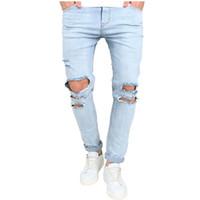 модные джинсы большие дыры оптовых-brand man Knee big Hole jeans fashion 2017 new spring wash light blue Denim trousers men's distressed Ripped skinny jeans men