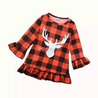 ingrosso vestito rosso plaid del bambino-Neonate Festa di Natale Vestito Rosso Plaid Deer Ruffle Princess abiti Maniche lunghe per bambini cheating