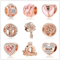 Wholesale mum flowers for sale - Group buy 2020 new mother s day gift MOQ rose gold mum pumpkin car family diy lose bead Fit origianl Pandora Charm Bracelet D100