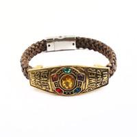 Wholesale bracelets stone alloy resale online - Fashion Vintage Charm Handmade Marvel Avenger Infinity War Thanos Bracelets Infinity Gauntlet Stone Bangles For Men And Women
