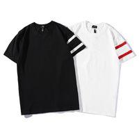 поло белая полоса оптовых-Лето Соединенные Штаты Модные рубашки Красно-белая полоса печати с короткими рукавами печати рубашки поло Уличная одежда повседневная футболки