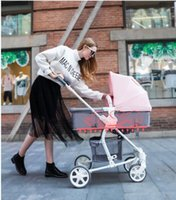 Wholesale view cans resale online - High view baby stroller bi directional push children s trolley can sit and lie on baby folding shock absorber trolley in summer