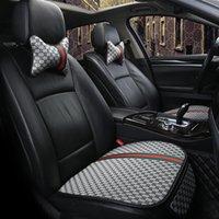 accesorios de auto esteras al por mayor-nuevo asiento de coche cubierta de lino de la tela del cojín delantero lino trasero protector del amortiguador del cojín de la estera universal Tamaño accesorios del coche transpirable Auto