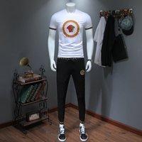 nuevo coreano deportes al por mayor-2019 verano nueva moda para hombre ropa deportiva manga corta camisetas y pantalones Two Piece Set Korean Edition chándal309 #