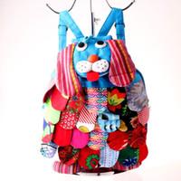 çocuklar için karakter sırt çantaları toptan satış-Çin Etnik Sırt Karakter El yapımı Pamuk Köpek Sırt Çocuk Omuz Çantaları Çocuk Moda Köpek Okul Çantaları CCA11825-A 100pcs