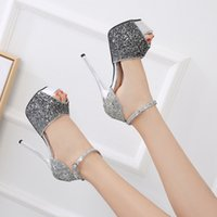 Wholesale latest leather sandal for sale - Group buy Crystal2019 With Fine Sexy Super High With Sandals Woman cm Latest Fashion Shoe Waterproof Platform One Buckle Nightclub Go Show Fish