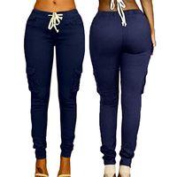 pantolon pantolonu toptan satış-Kadın Çok çanta Pantolon İpli Kravat Rahat Pantolon Yaz Moda Trendi Düz Renk Şeker Yüksek Bel Kadın Pantolon L548